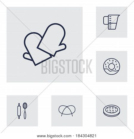 Set Of 6 Oven Outline Icons Set.Collection Of Measuring Cup, Gloves, Donuts And Other Elements.