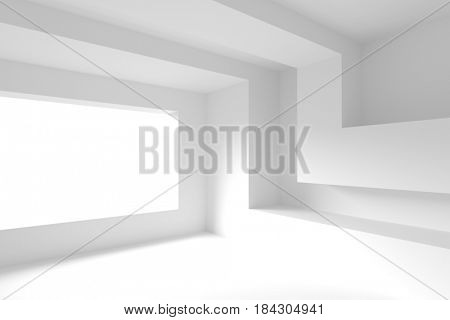 Modern Interior Design. Empty Room with Window Frame. Minimal Abstract Background