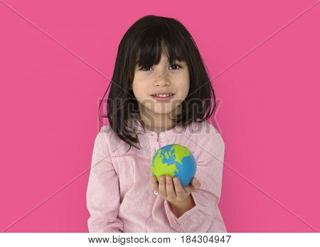 Little Girl Kid Adorable Cute Playful Globe Studio Portrait
