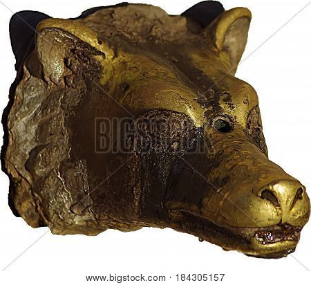 a brassy wolf head in a white background