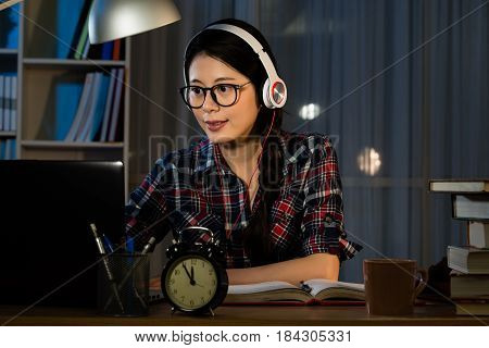 Hipster Student Studying And Listening
