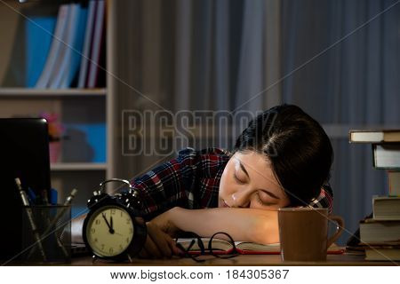 Tired Students Studying Sleeping On Desktop