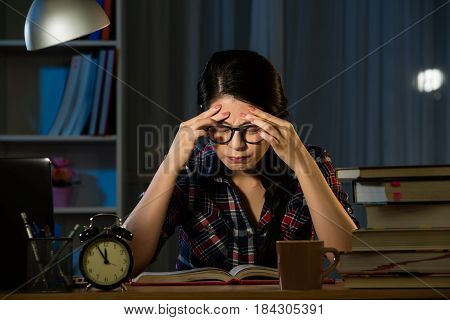 Tired Hispanic Student Feel Stressful