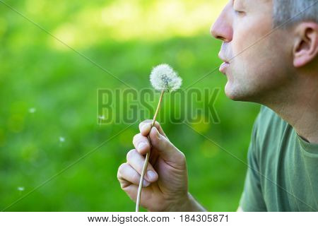 Man blowing dandelion over blurred green grass, summer nature outdoor