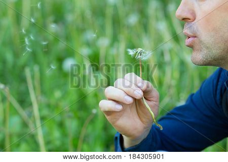 Man with dandelion over blured green grass, summer nature outdoor