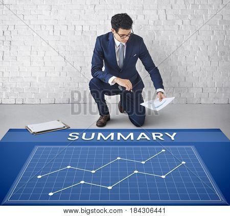 Data Analysis Summary Graph Arrow Up