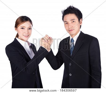 Arm Wrestling Between Businessman And Businesswoman Isolated On White