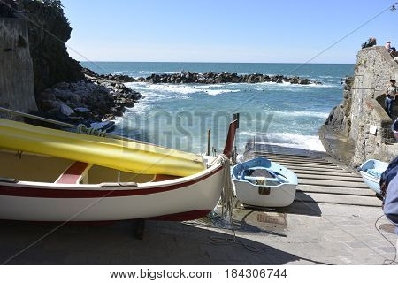 Boats in the shore, vacations cinqueterre italy