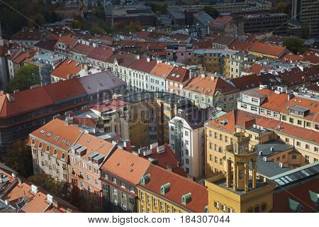 Prague aerial view in partial sunlight