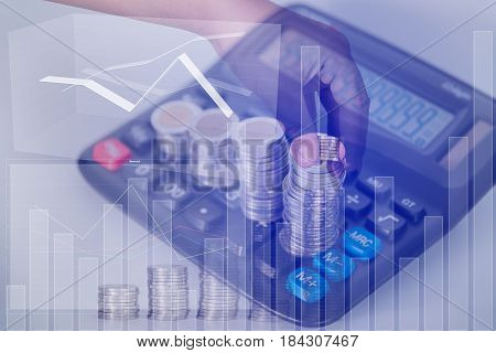 Double Exposure Of Hand Put Money Coins To Increasing Columns Of Coins, Piles Of Coins Arranged As A