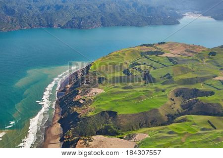 Aerial coastal landscape in New Zealand