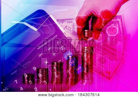 Double Exposure Of Hand Put Money Coins To Piles Of Coins Arranged As A Graph With Coins Currency An