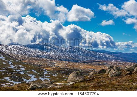 Mountains And Clouds At Mount Kosciuszko National Park, Australia