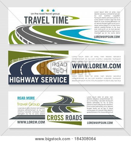 Road travel and highway service banner template set. Crossroad, speedy freeway and coastal road symbols for travel agency web banner, car trip, summer vacation and tourism design