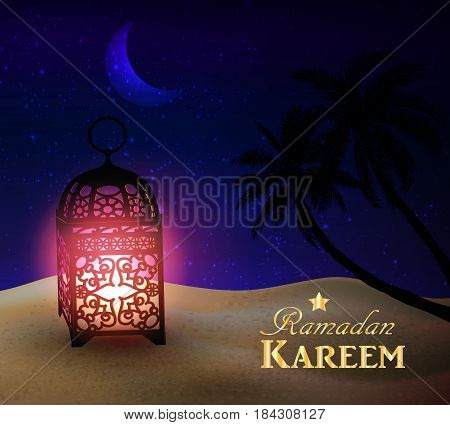 lantern stands in the desert at night sky with moon and palm silhouettes vector