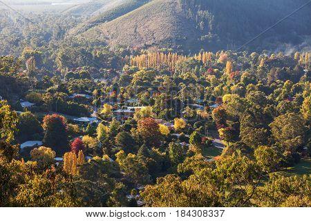 Rural Australian Town In Autumn Colors. Bright, Victoria, Australia