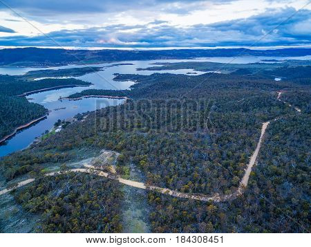 Aerial View Of Lake Jindabyne At Dusk, New South Wales, Australia