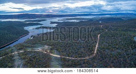 Aerial Panoramic View Of Lake Jindabyne At Dusk, New South Wales, Australia