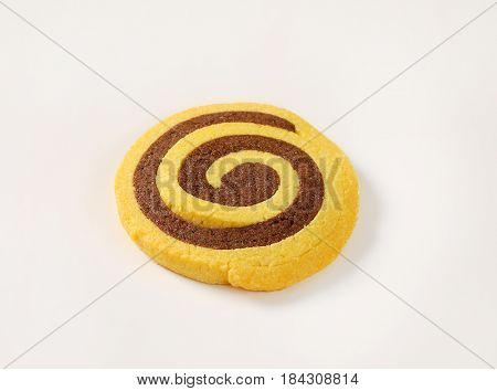 sweet chocolate roll on white background