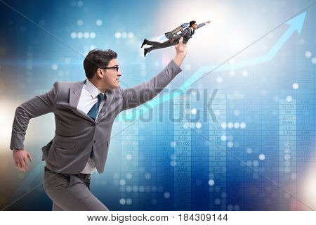 Businessman on rocket in trading concept