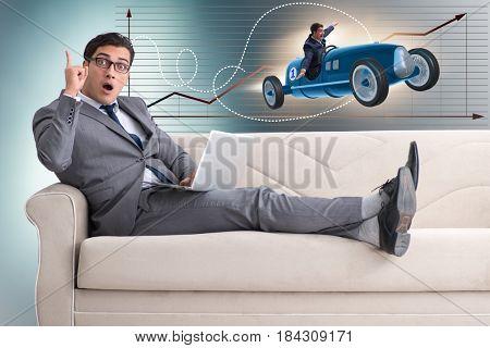 Man with bright idea sitting on sofa