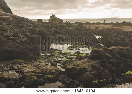 Tidal Pool Surrounded By Jagged Rock