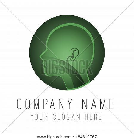 Logo template. Head silhouette sign for ear, nose, throat specialists doctor.