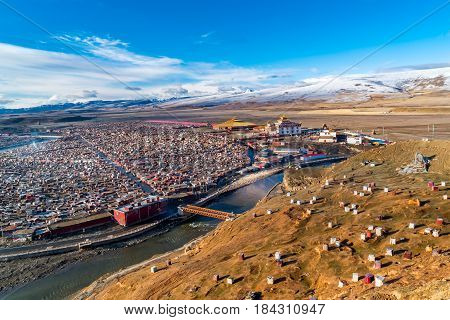 Yarchen Gar the giant tibetan monastery of Kham in Sichuan China