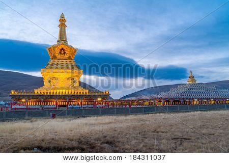 Yarchen Gar Monastery in Garze Tibetan, Sichuan, China, in the morning