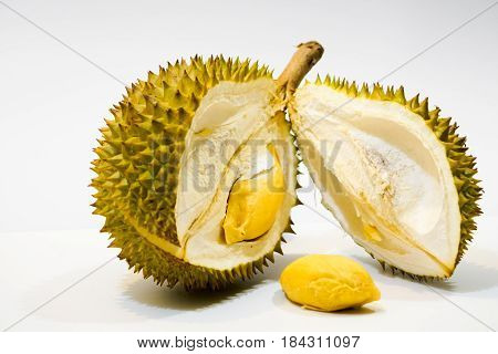 Fresh Cut Durian on white background a close-up view of Durian Durian pulp Durian D158