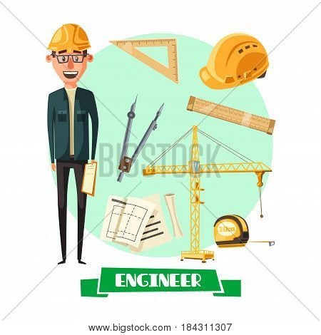 Engineer profession cartoon icon. Architect or civil construction engineer in yellow hard hat with architectural drawing, rules, tape measure, compasses and tower crane. Construction industry design