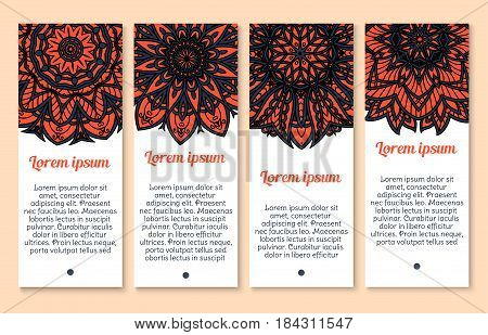Banner template with floral paisley pattern. Circle mandala flower with blue and red paisley ornament and indian flourish decorative elements. Business card, invitation flyer and greeting card design