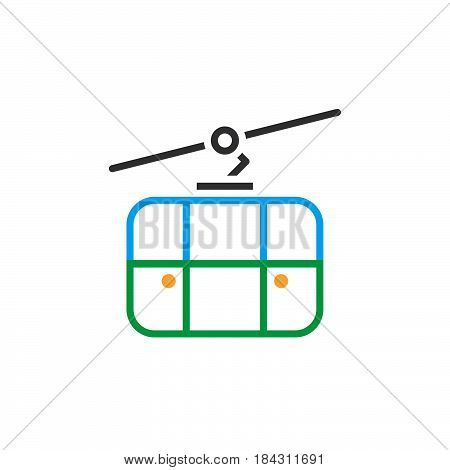Cableway Line Icon, Outline Ropeway Vector Logo, Linear Pictogram Isolated On White, Color Pixel Per