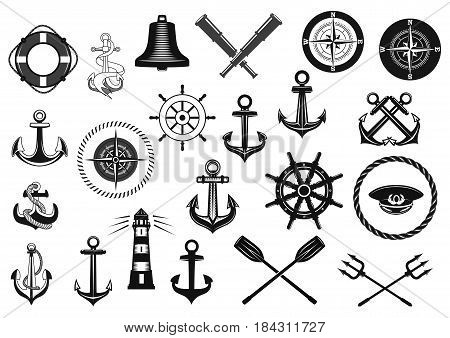Nautical icon set. Marine anchor, helm, rope, captain hat, compass, lighthouse, steering wheel, ship bell, spyglass and lifebuoy isolated symbol. Nautical equipment for heraldic emblem and badge set