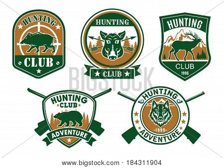 Hunting club sporting badge set. Wild boar, deer, bear, wolf, elk and hog animals on heraldic shield and round stamp with crossed rifle, target sign and ribbon banner for hunting sport design
