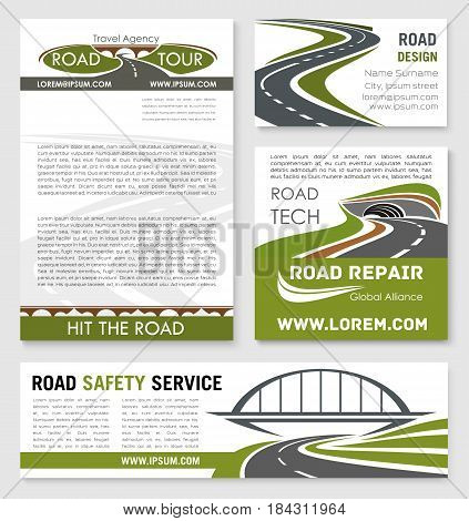 Road and highway banner template with bridge and tunnel. Road building company business card, travel agency poster, car trip and traffic safety flyer design