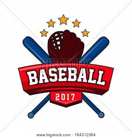Bat-and-ball game logotype in flat style with text, brand sticker for tournament play. Baseball 2017 logo design with two crossed bats, leather glove and five stars isolated on whitebackground.
