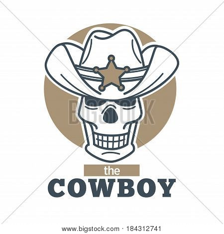 Cowboy logo skull in sheriff hat isolated on white background. Vector illustration of logotype sticker label design of dead smiling wild west character in broad cap with star sign in flat style