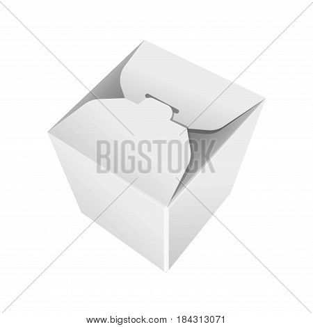 Take away white blank pack isolated vector in flat design. Illustration of container for food carrying made of carton with closing system on top. Meal packaging template colorless image