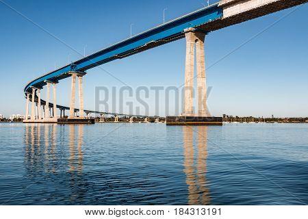 The prestressed, concrete/steel girder San Diego-Coronado Bay Bridge, spanning San Diego bay.