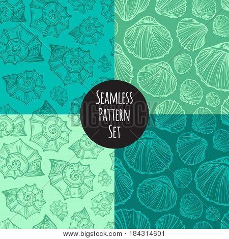 Seashells nautilus seamless pattern set vector. Doodle colorful background. Sketch objects marine illustration