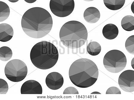 Abstract monochrome triangle circles on a light background.