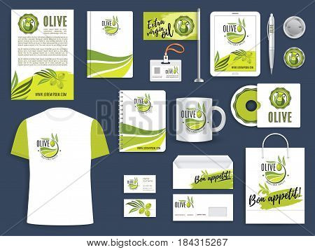 Corporate identity template of olive farm and olive oil product company. Green branch with olive fruit brand sign on document page layout, business card, envelope, cover, folder, notebook, pen and cup