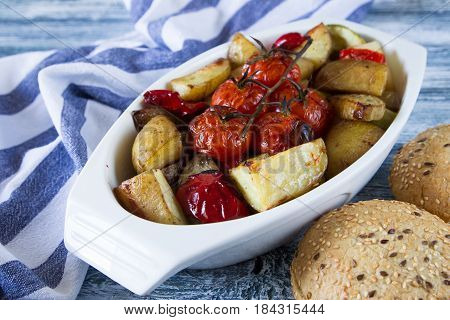 Roasted Vegetables In A Ceramic Pot. Closeup View, Selective Focus