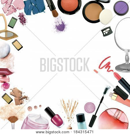 Photo of make up products in frame background