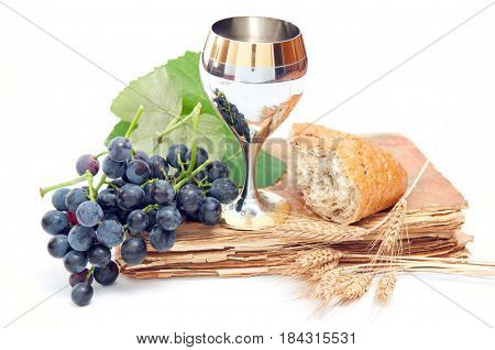 holy communion with golden chalice on white background.
