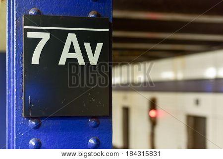 New York City - March 24 2017: Seventh Avenue subway station in Manhattan New York City.