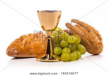 Holy communion chalice composition isolated on white background.