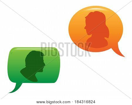 isolated people communicated in color speech bubble
