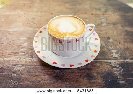 Latte Coffee On Wood Table With Space